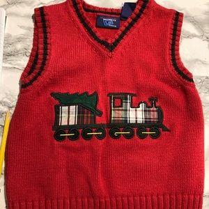 Authentic Graphite Clothing Sweater Vest Boys Christmas Tree On Plaid Car sz 4t